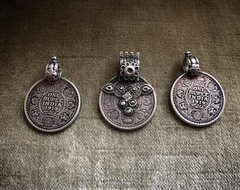 Antique silver RUPEE pendant
