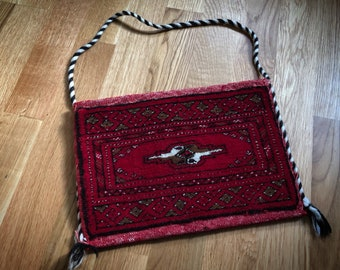 Vintage hand knotted PERSIAN Rug Bag