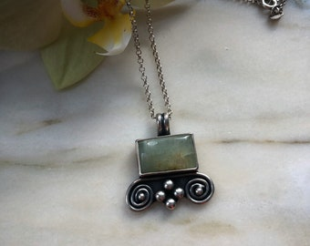 Handmade Pendant in recycled sterling silver with AQUAMARINE by Bella angora