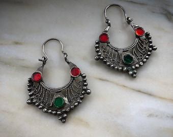 Vintage silver ethnic earrings from Pakistan
