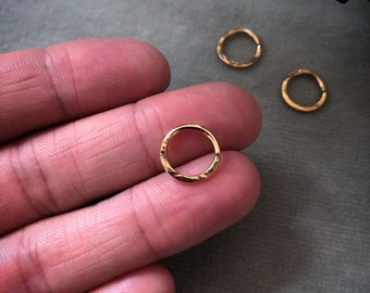 18 K Solid FAIR TRADE GOLD septum nose piercing with Hammered texture