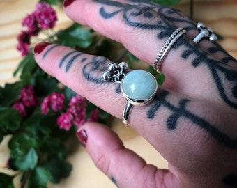 AQUAMARINE Tassel Ring