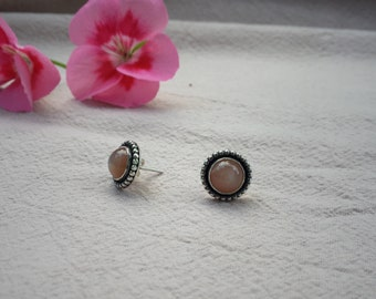 PEACH  Moonstone Stud Earrings