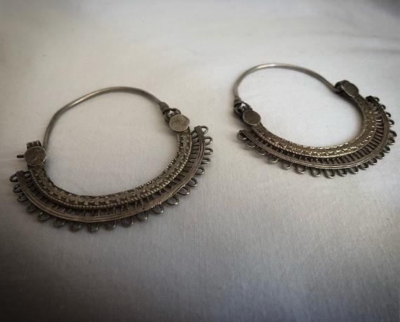Vintage RAJASTHANI Silver Hoops