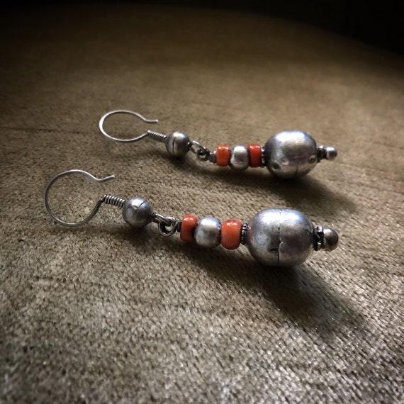 Vintage Silver CORAL Earrings