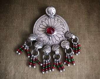 Big vintage TURKMEN TRIBE silver pendant