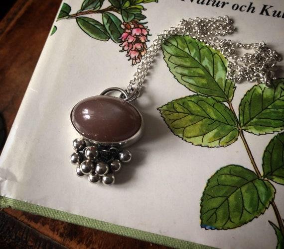 Dark peach Moonstone TASSLE Necklace