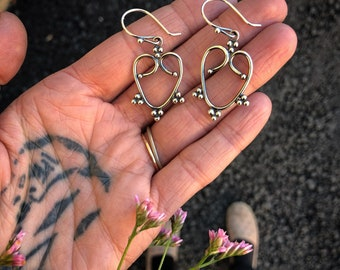 Sterling silver Heart Love Earrings made by Bella Angora