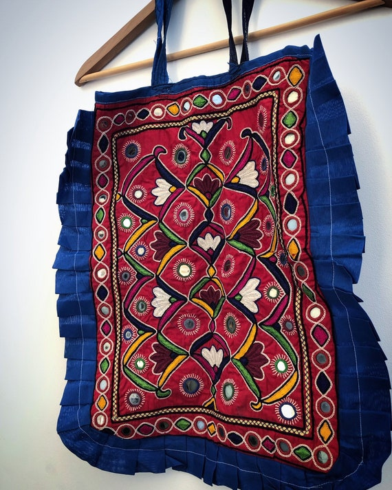 Hand embroidered vintage PAKISTANI tote bag
