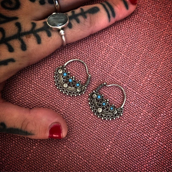 Vintage Silver EARRINGS with turquise from pakistan