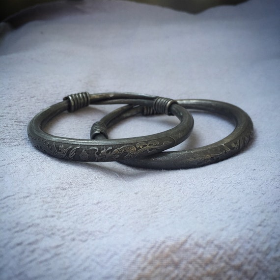 Antique HILL TRIBE Silver Bangles