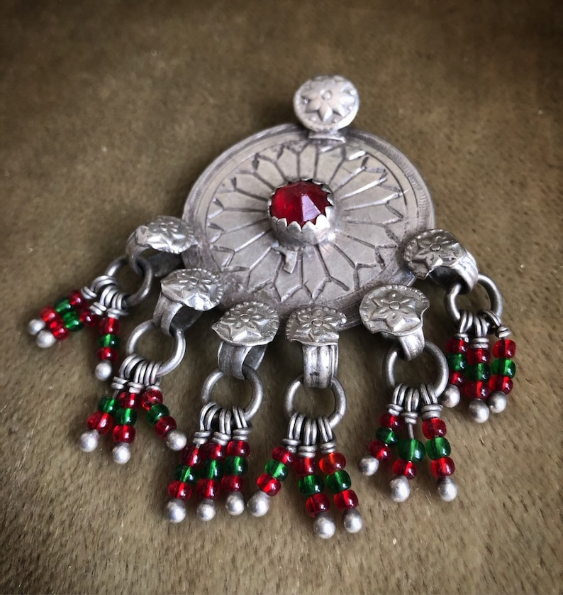 Vintage TURKMEN TRIBE high grade silver pendant