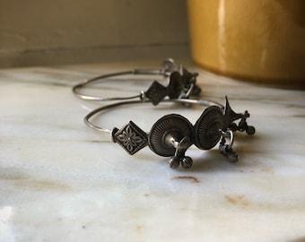 Vintage silver ethnic tribal earrings from Pakistan