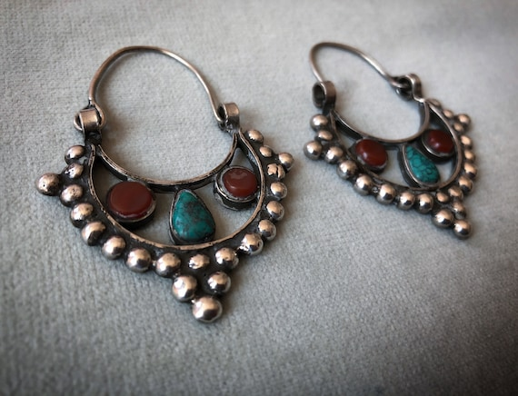 TURQOUISE and AGATE old Silver Earrings