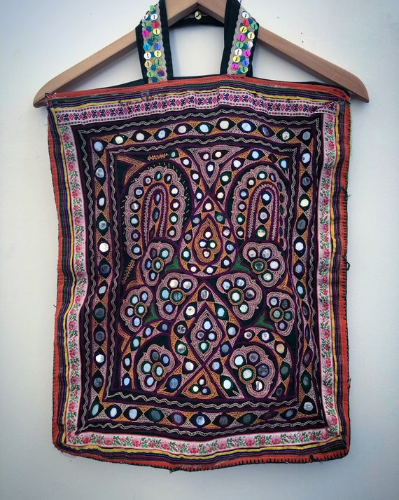 Hand embroidered vintage RAJASTHANI tote bag
