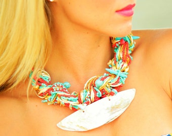 Shell Necklace Bracelet, Tropical Jewelry, Beach Jewelry, Bright Necklace! Floridita Art Deco jewelry set -  Macrame Necklace