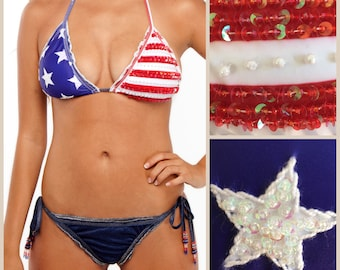 USA Bikini – Red White and Blue Bikini for 4th of July with Stars and Stripes and Denim Cheeky Bikini Bottom