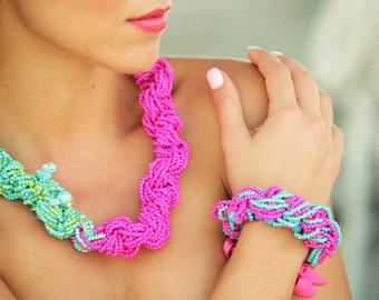 Aqua Fuchsia Necklace, Bracelet, Tropical Jewelry, Beach Jewelry, Bright Necklace! Floridita Hibiscus Island jewelry set -  Macrame Necklace