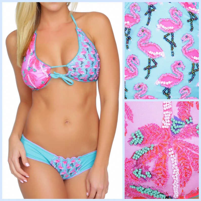 0f40babf7d290 Flamingo Bikini flamingo swimsuit Cute Bikini Unique