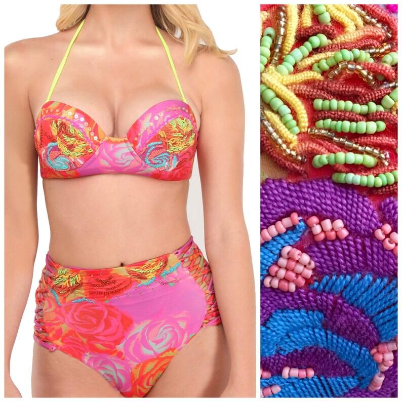 Floral Bikini Retro  Balconette Bikini Top with High Waisted image 0