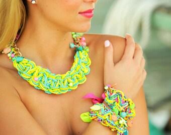 Neon Necklace Bracelet, Tropical Jewelry, Beach Jewelry, Bright Necklace! Floridita Palm Island jewelry set -  Macrame Necklace