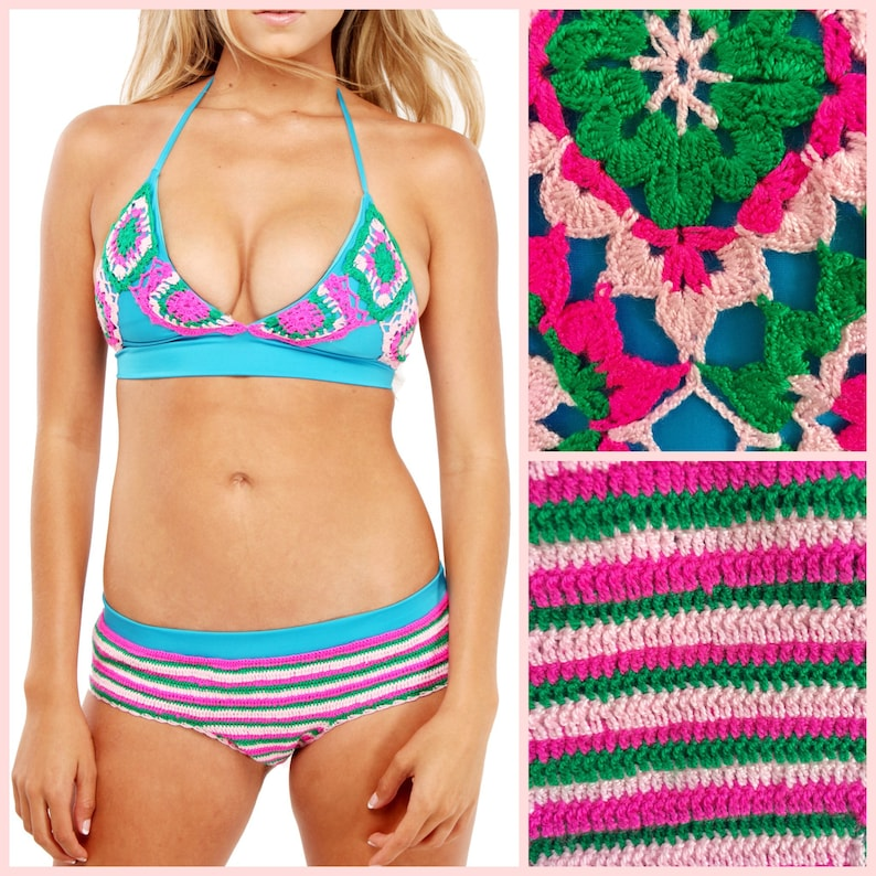 Crochet Bikini Top and Bottom  Boho Two Piece Bathing Suit in image 0
