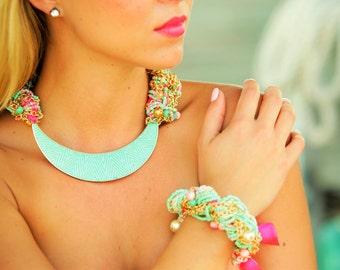 Shell Necklace, Colorful Bracelet, Tropical Jewelry, Beach Jewelry, Bright Necklace! I Heart Miami jewelry set -  Macrame Necklace