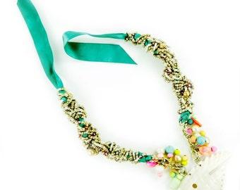 Fish Shell Necklace Bracelet, Tropical Jewelry, Beach Jewelry, Metallic Necklace! Floridita Espanola Way Necklace -  Macrame Necklace
