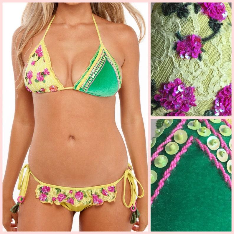 Velvet Bikini Yellow and Green  Two Piece with Ruffle Bikini image 0