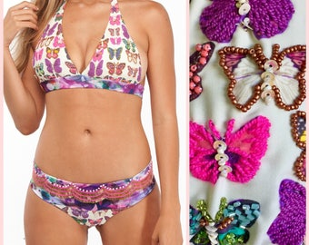 Sequin Bikini Top and Bottom – Butterfly Print Two Piece Bikini with Cheeky Bikini Bottom with Beaded Fringe
