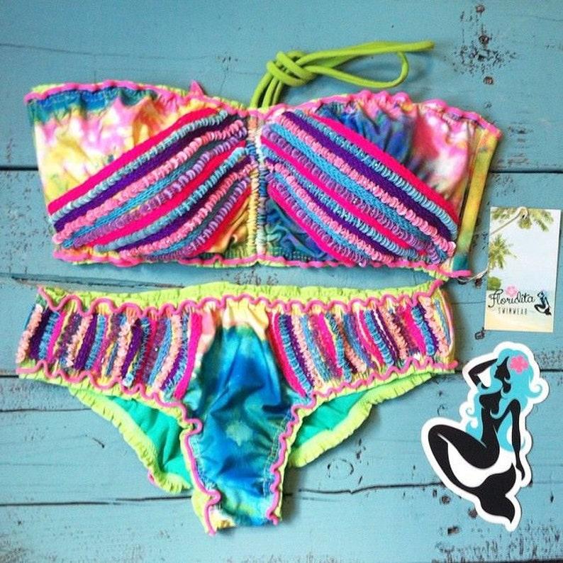 Cute bandeau bikini tie dye festival Bikini beaded bikini image 0