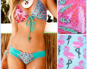 Cute Bikini, flamingo bikini, Cute Swimwear, Custom Made Bikini, Sexy Bikini, Cute Print Swimwear, Flamingo Swim Suit, Triangle Bikini