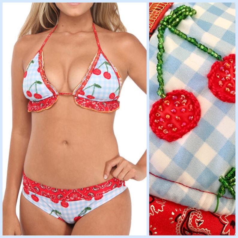 Cherry Bikini for Women  White and Red Bikini with Gingham image 0