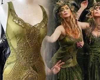 Green Boho wedding dress forest colors, bridal dress
