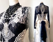 Witches weding dress lace , black and White wedding dress black swan witches wedding dress vampire, RawRags halloween dress
