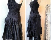 Halloween Black dress for witches, Gothic bridal gown vampire wedding dress, sexy black dress corset dress , Raw Rags