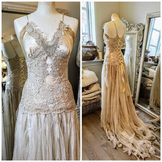 Boho Wedding Dress Tatteredbridal Gown Tattered Wedding