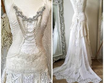 Wedding dress recycled vintage lace , handmade boho wedding dress one of a kind