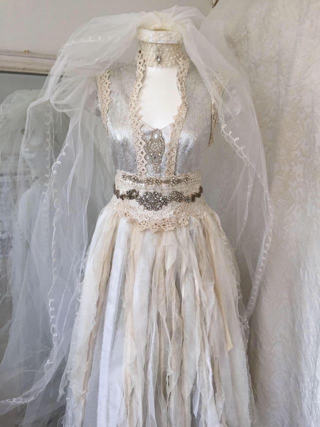 Wedding dress silver goddess bridal gown silverethereal | Etsy