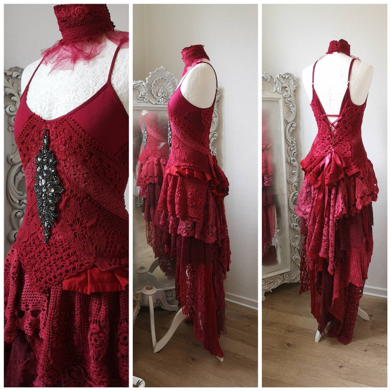 Gypsy Dress In Vibrant Red Boho Wedding Dress Will And Free Statement Bridal Gown Raw Rags Handmade Eco Friendly Fashion