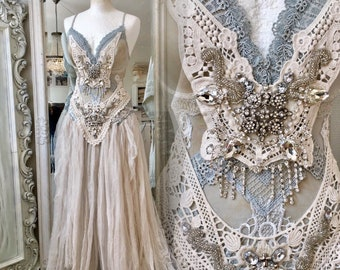 Statement wedding dress,bridal gown extraordinaire,bohemian wedding dress,lace wedding dress, alternative wedding dress,rawrags,beach weddin