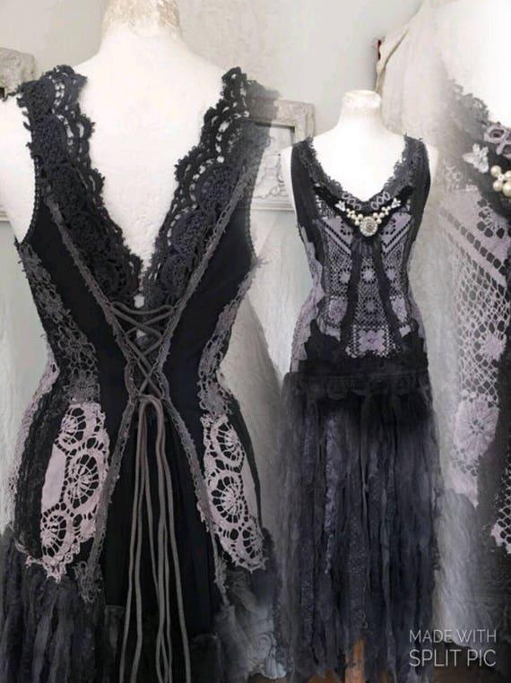 Gothic Wedding Dress Black And Dark Blue Wedding Dress Goth Etsy