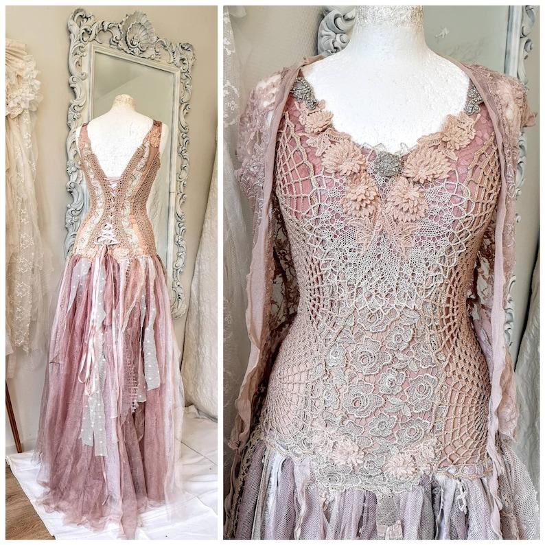 Boho wedding dress rosebridal gown rosebeach wedding dress image 0