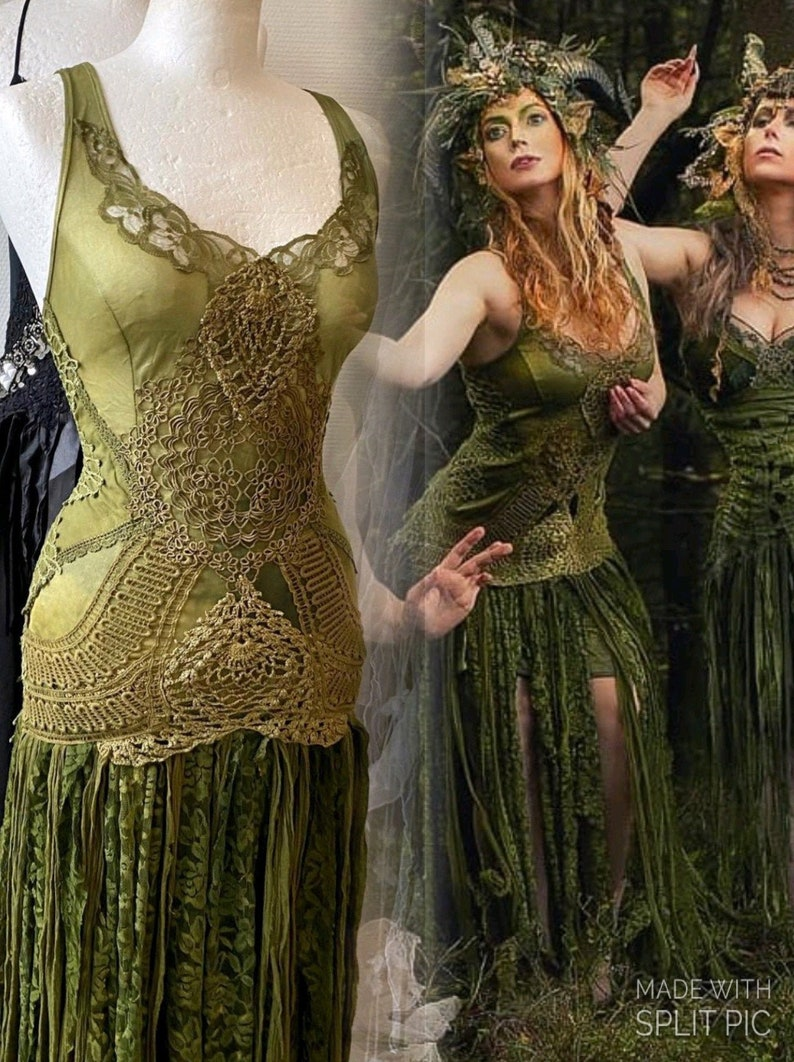 Green Boho wedding dress forest colors bridal dress image 1