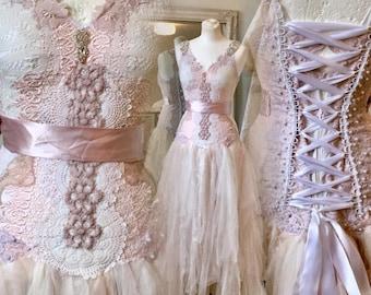 Boho wedding dress rose,bridal gown rose,beach wedding dress rose,open back wedding dress,boho wedding blush,rustic wedding dress, tatt