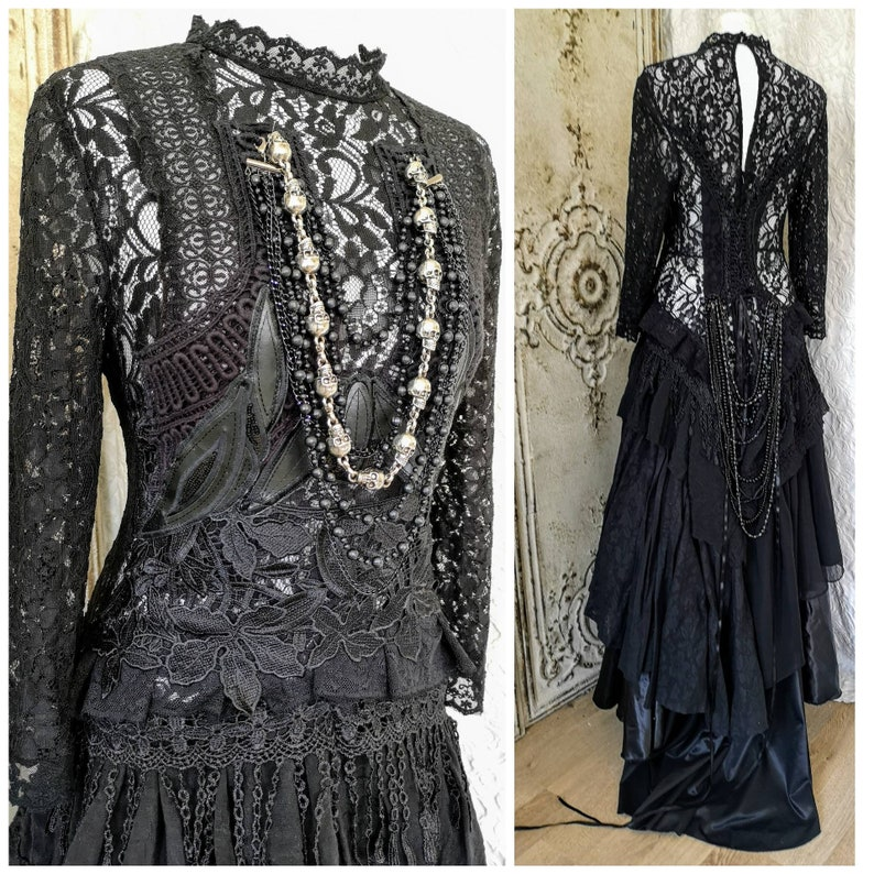 Black Wedding Dress In A Gothic Look Bridal Gown Extraordinary Vampire Corset Dress With Sleeves Black Lace Dress Raw Rags