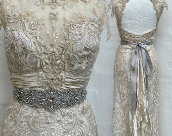 Wedding dress lace  open back ,beach wedding dress bride to be Raw Rags