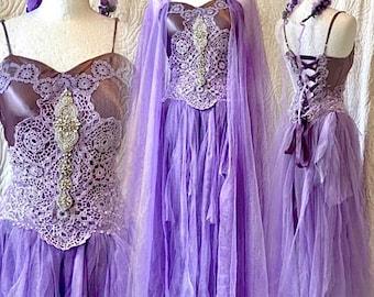 Purple Boho wedding dress fairy tale colors,bridal gown for faries,Elven wedding dress rustic,bohemian wedding