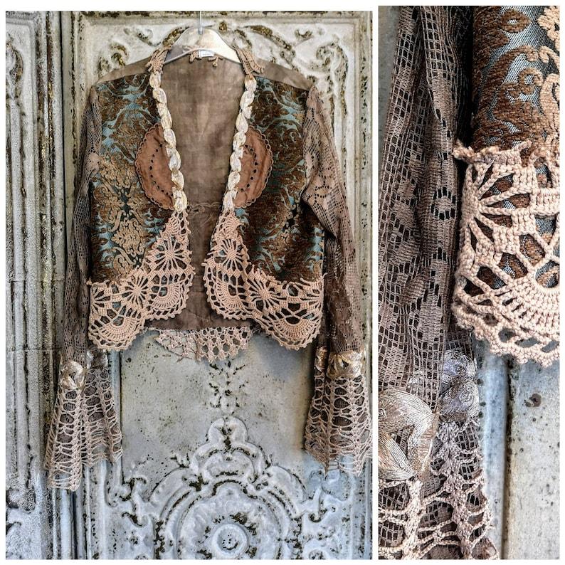 0d610eb5 Bohemian jacket repurposed crochetbrocade hippie cardigan | Etsy