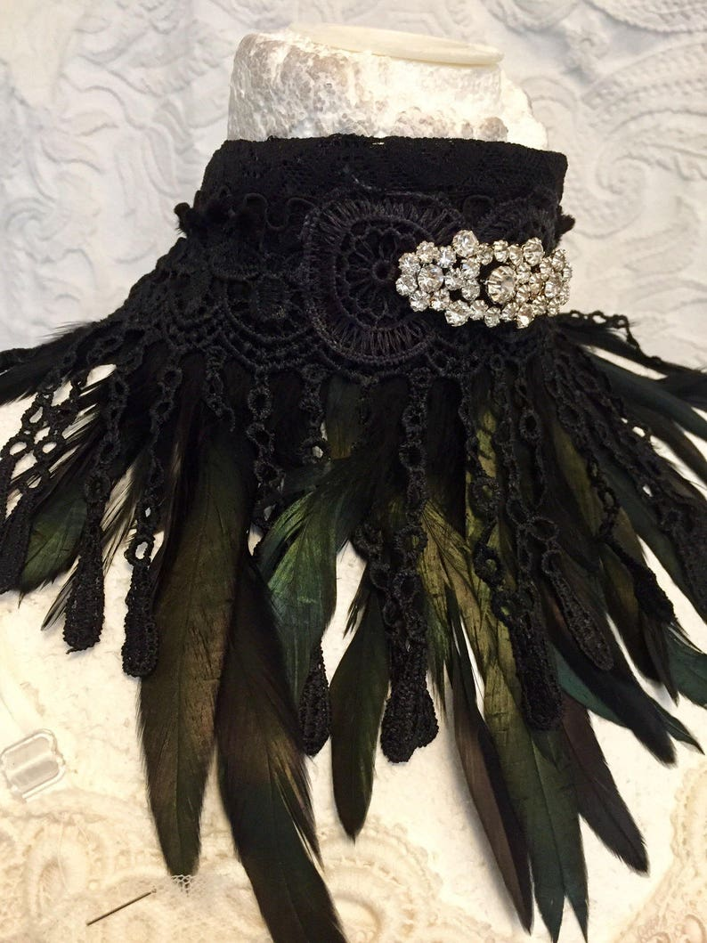 Choker black feather Gothic choker with brooch handmade unique choker Raw Rags